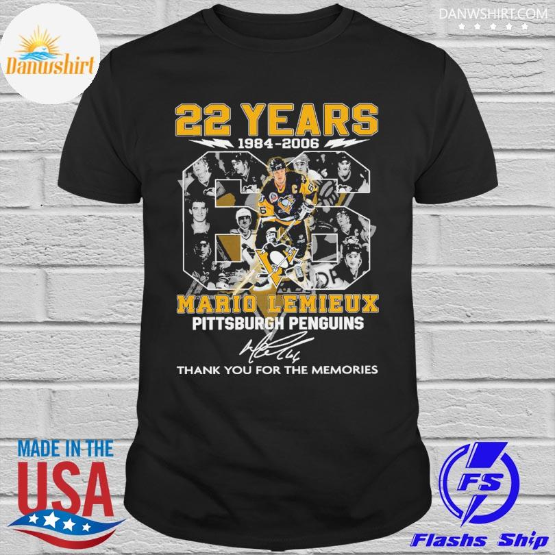 22 years 66 Mario Lemieux Pittsburgh Penguins thank you for the memories signatures shirt