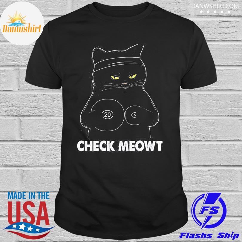 Black Cat check meowt shirt