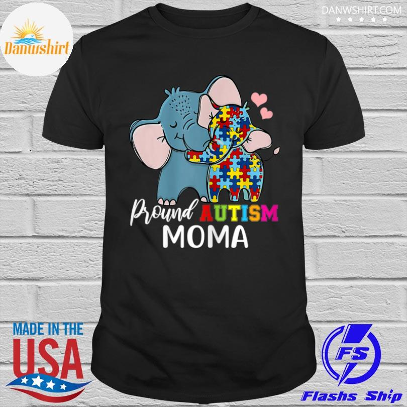 Elephant Proud moma autism awareness family mother's day shirt