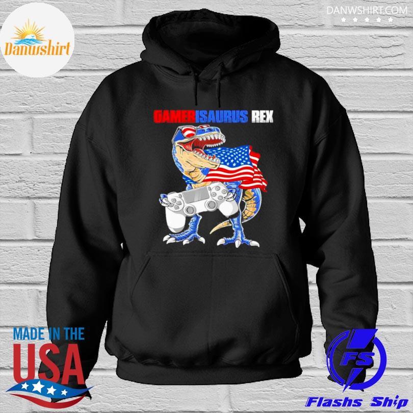 Gamersaurus rex American flag Hoodied