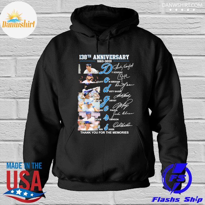 Los Angeles Dodgers 138th anniversary thank you the memories signatures Hoodied