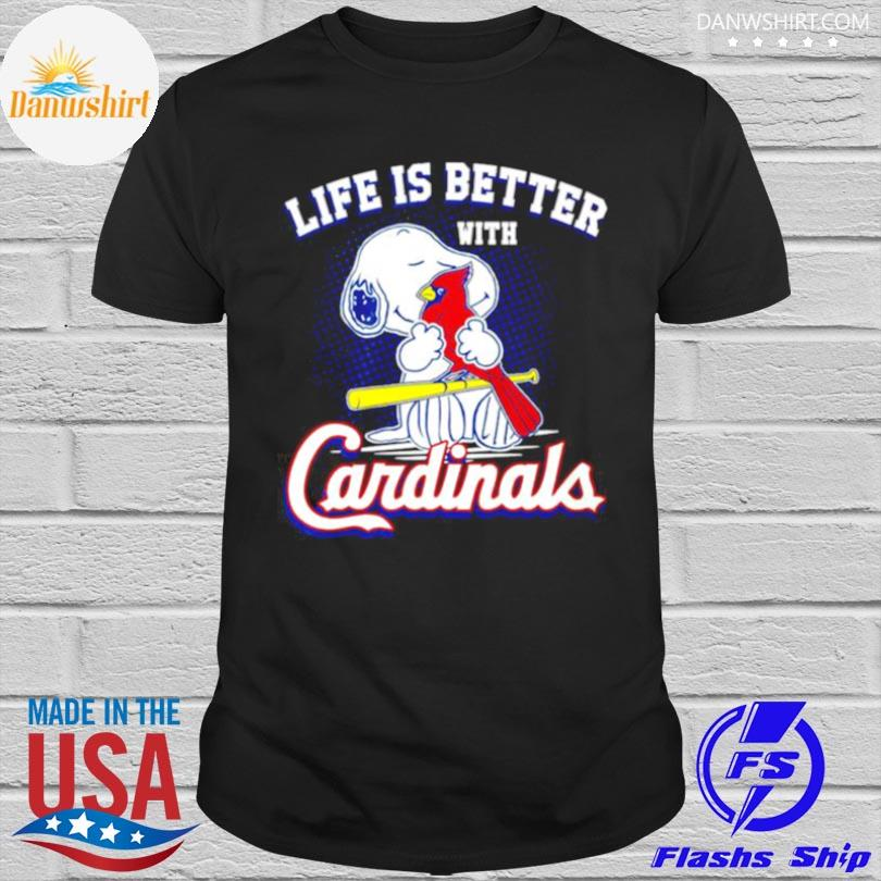 Official Snoopy life is better with st louis cardinals shirt