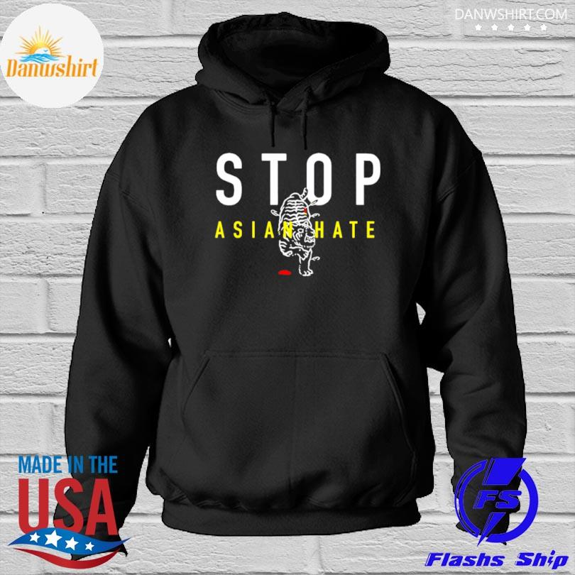 Official Stop asian hate bleeding tiger Hoodied