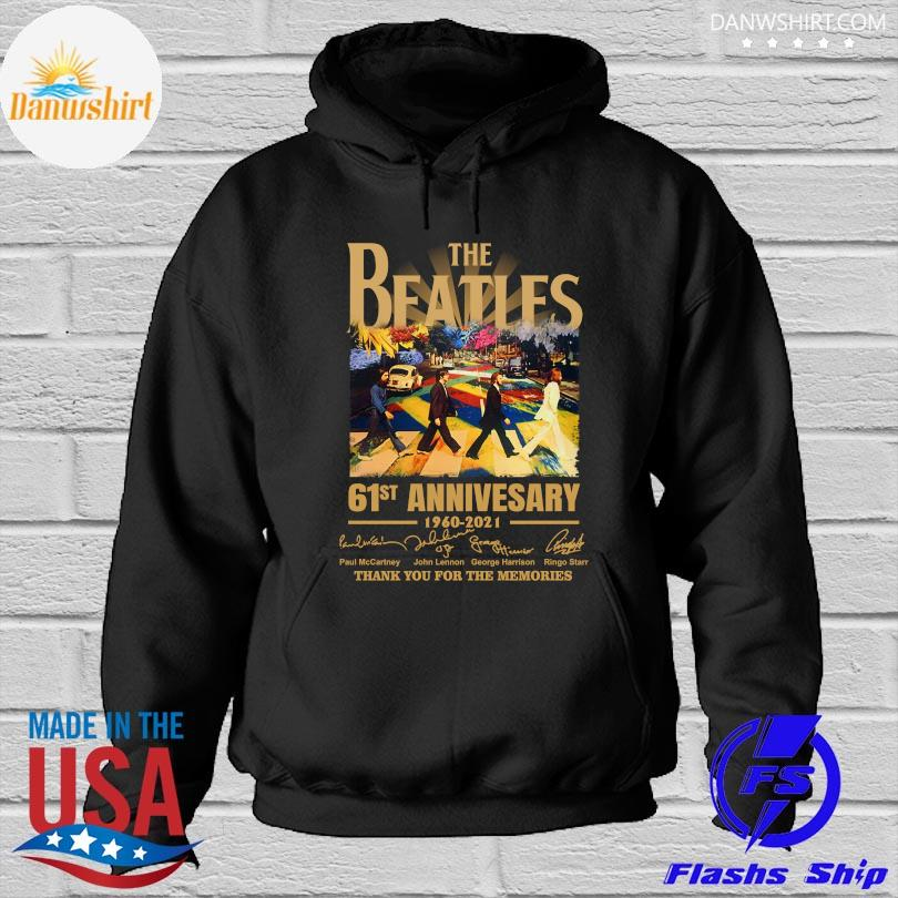 Official The Beatles 61st anniversary thank you for the memories signatures Hoodied