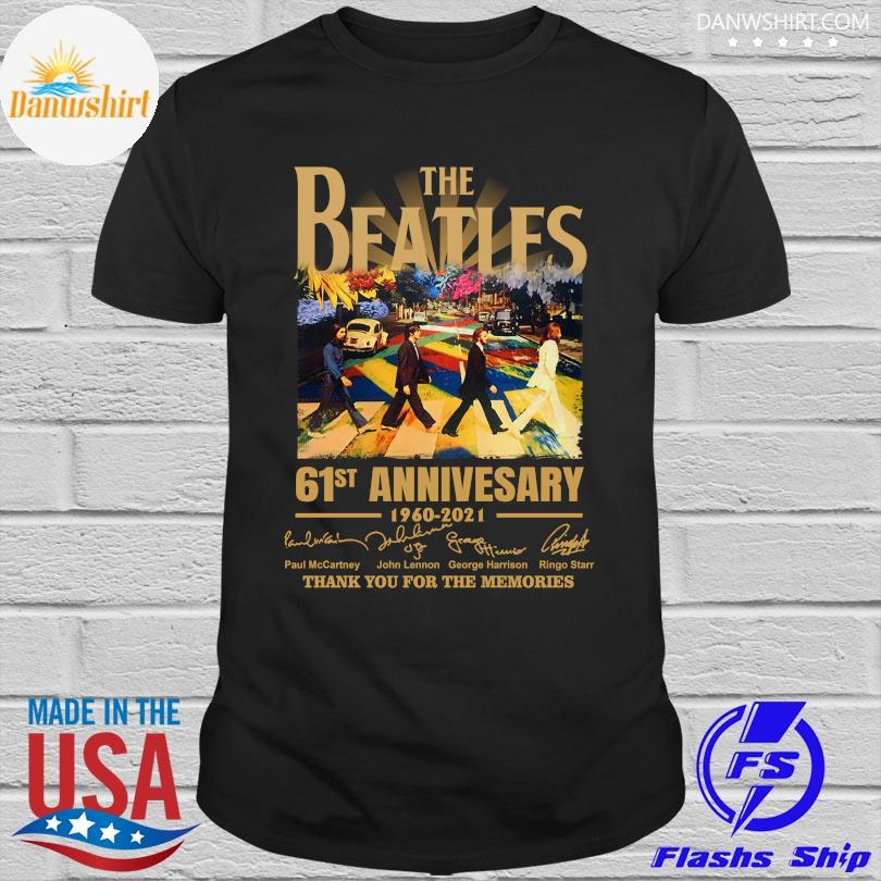 Official The Beatles 61st anniversary thank you for the memories signatures shirt