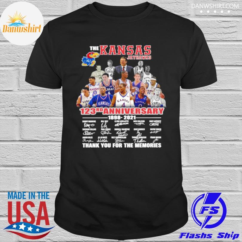 Official The Kansas jayhawks 123rd anniversary 1989 2021 thank you for the memories signatures shirt