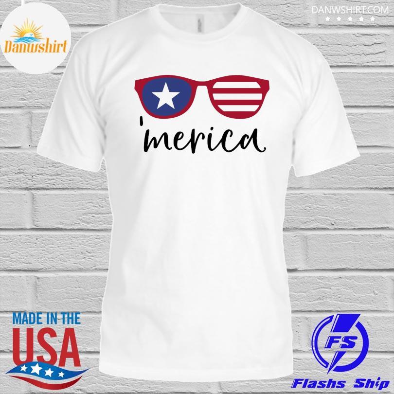 Merica glasses american flag shirt