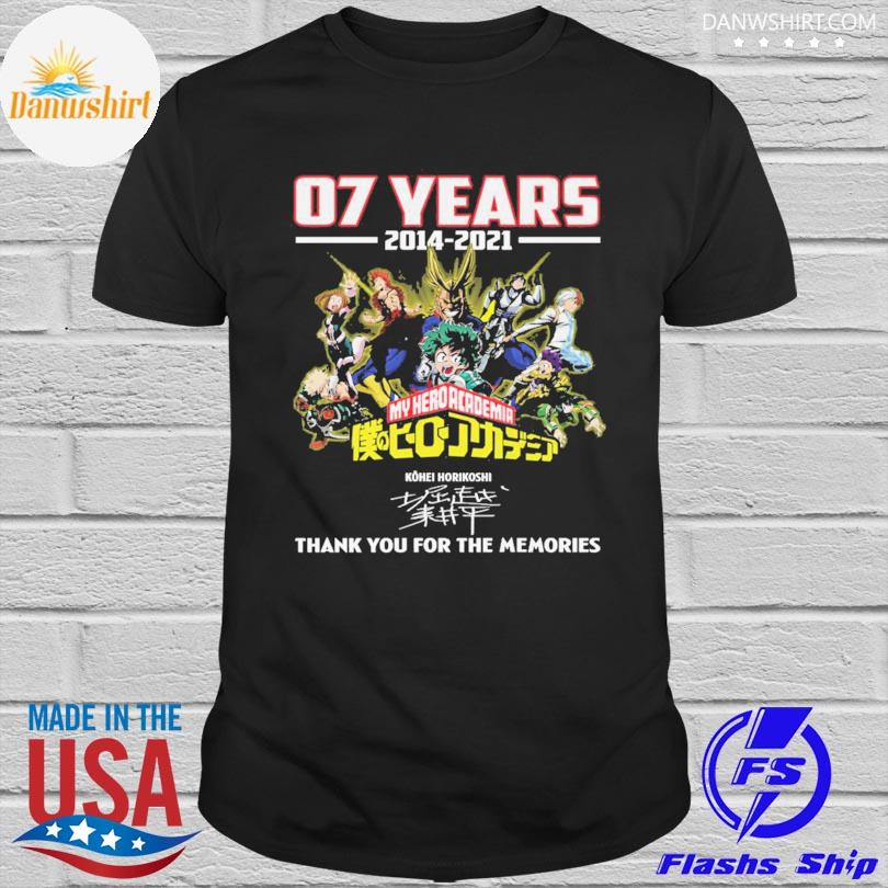 Official 07 years 2014 2021 My Hero Academia thank you for the memories signatures shirt