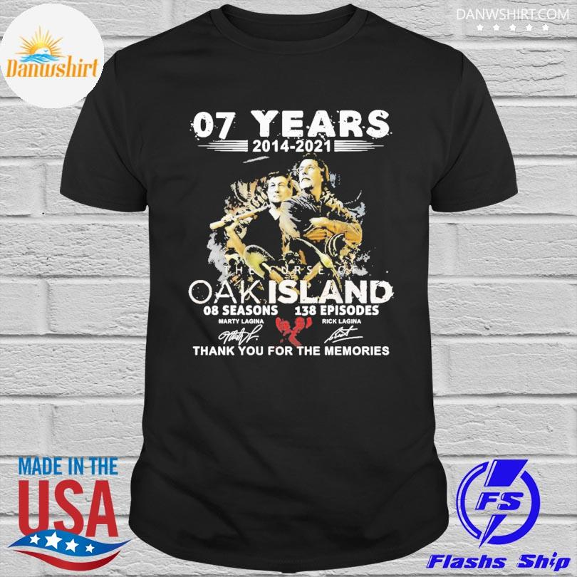 Official 07 years 2014 2021 The Curse Of Oakland thank you for the memories signatures shirt
