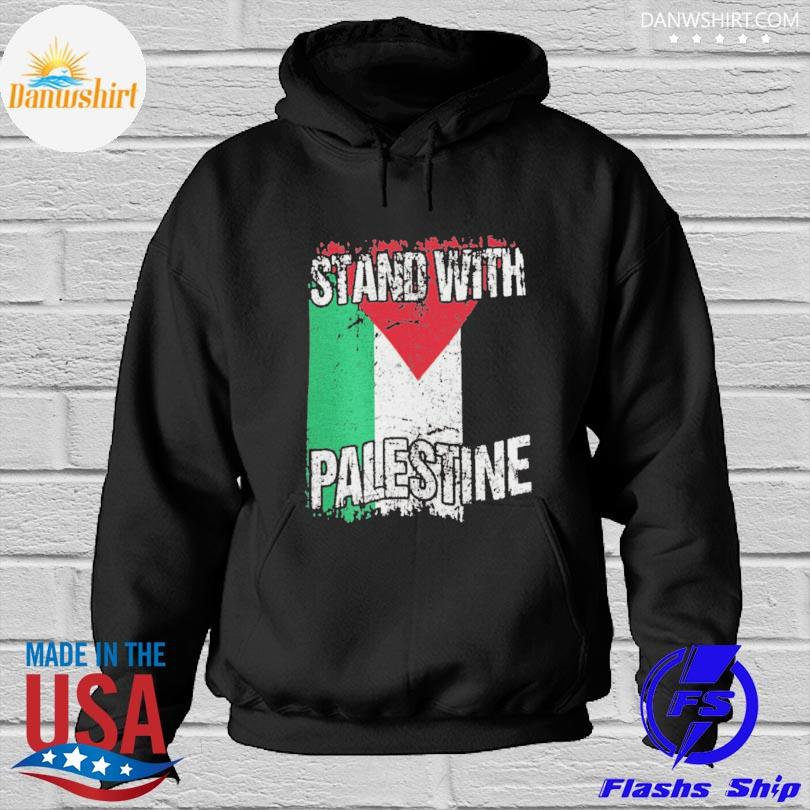 Official Stand with palestine vintage distressed palestinian flag Hoodied