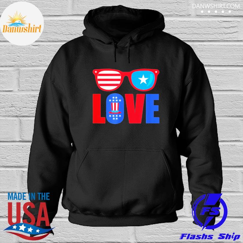 Love 4th of july usa america patriotic s Hoodied