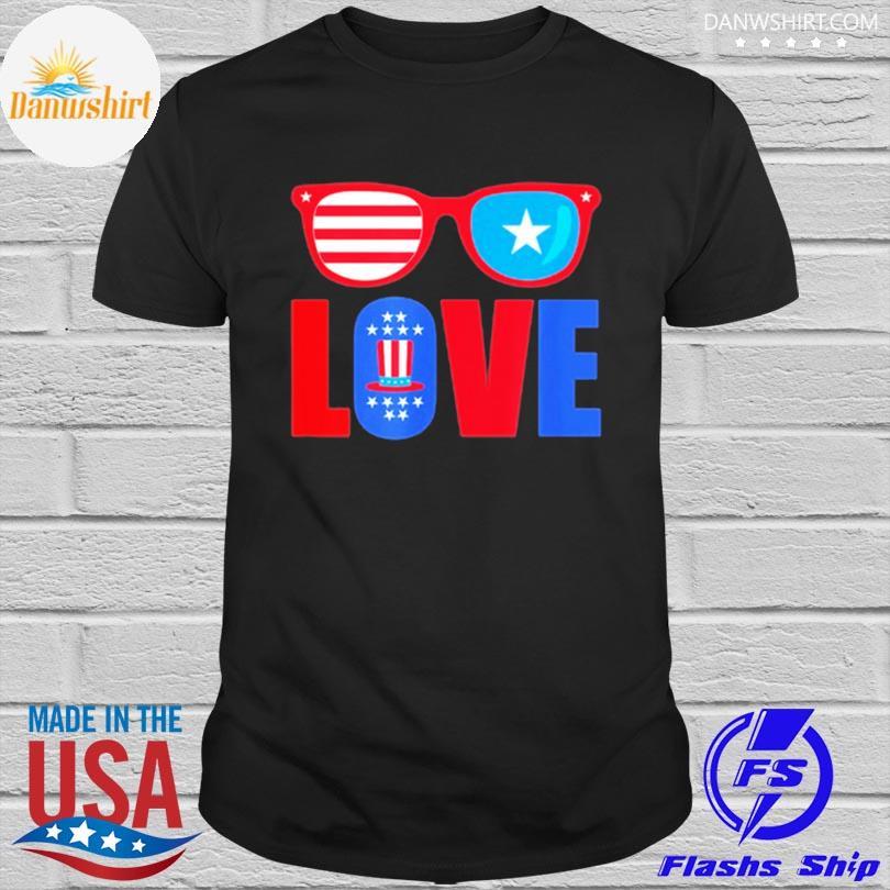 Love 4th of july usa america patriotic shirt