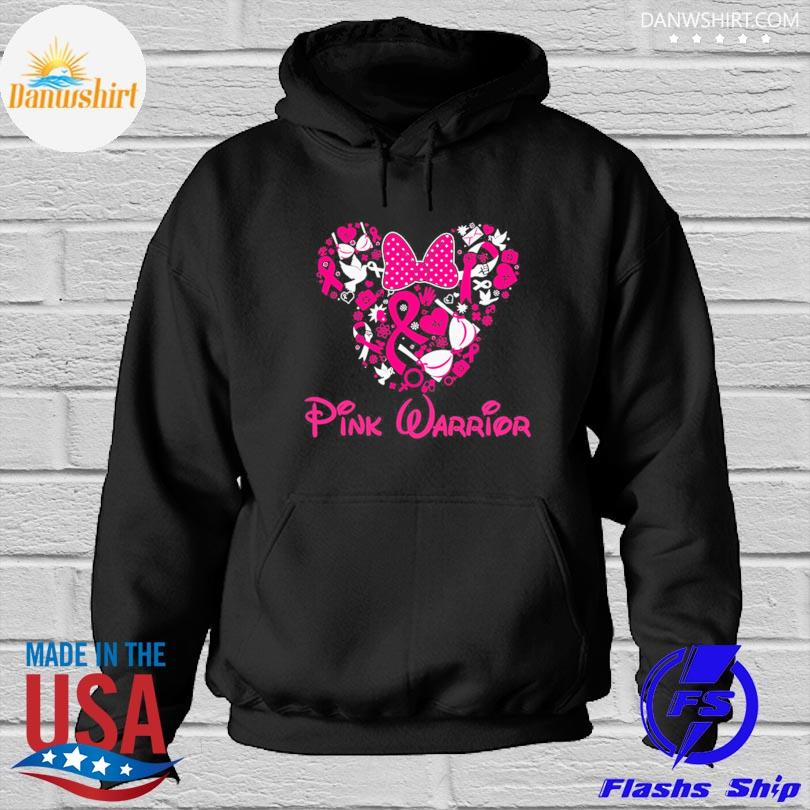 Mickey mouse heart pink warrior breast cancer s Hoodied