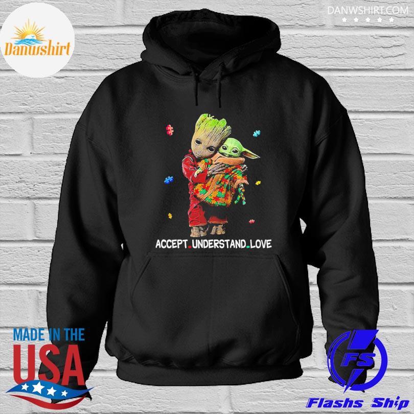 Official Autism accept understand love groot hug baby Yoda s Hoodied