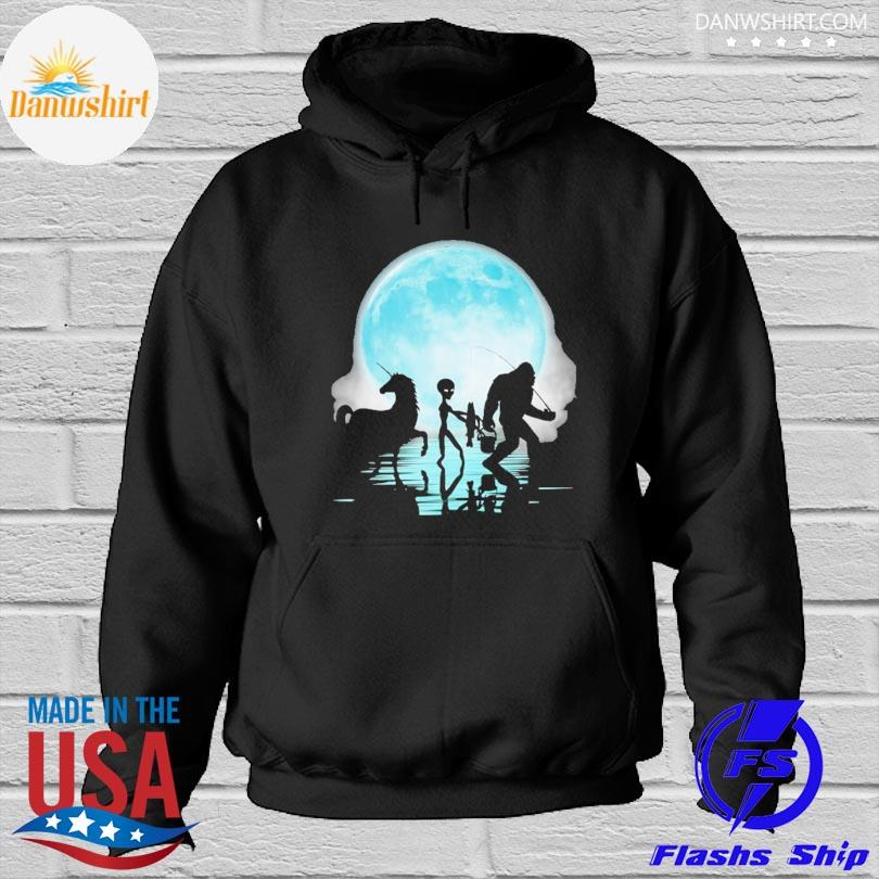 Official Bigfoot goes fishing with alien and unicorn mom s Hoodied