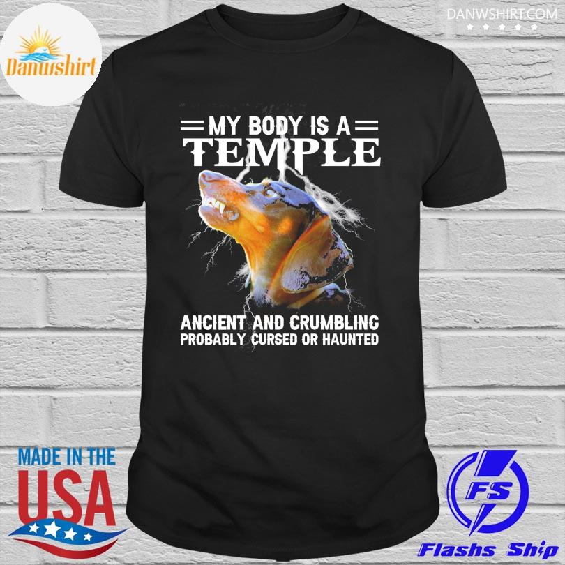 Official Dachshund my body is a temple ancient and crumbling shirt