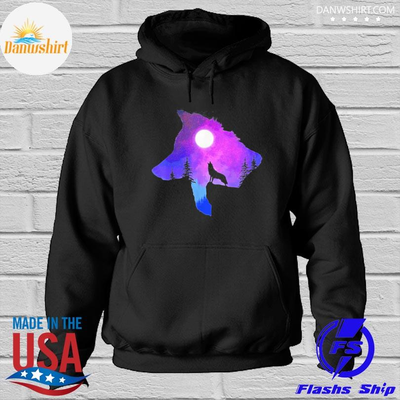 Official Howling wolf spirit animal moon indigenous native s Hoodied