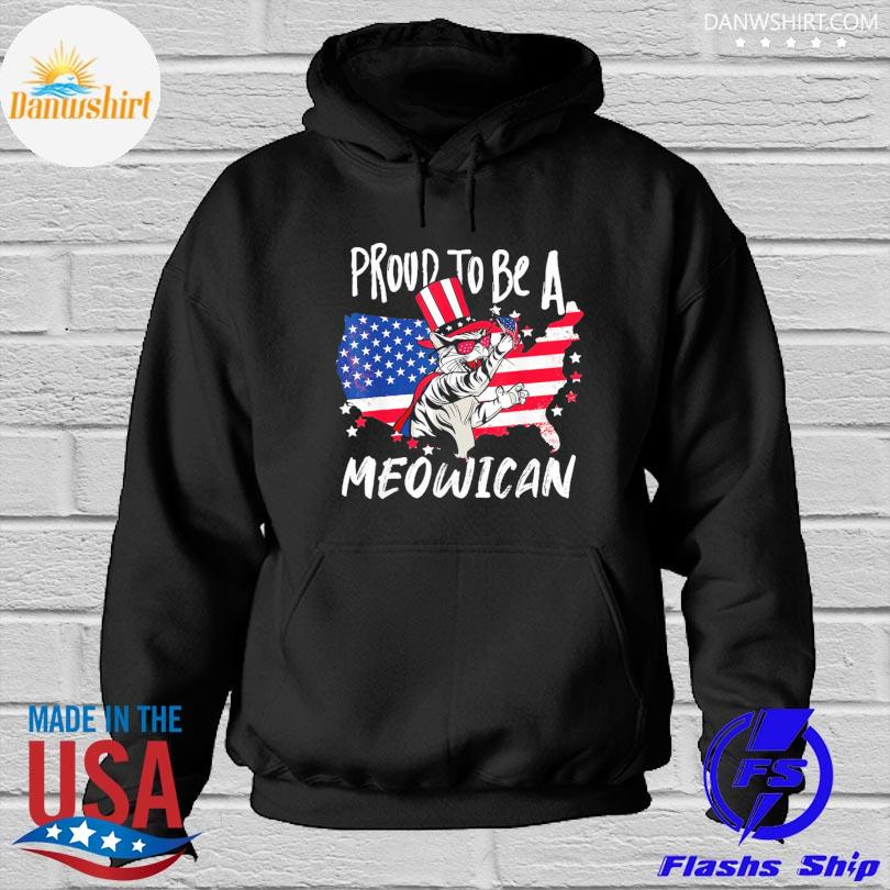 Official Proud to be as Meowican Cat 4th Of July American flag s Hoodied