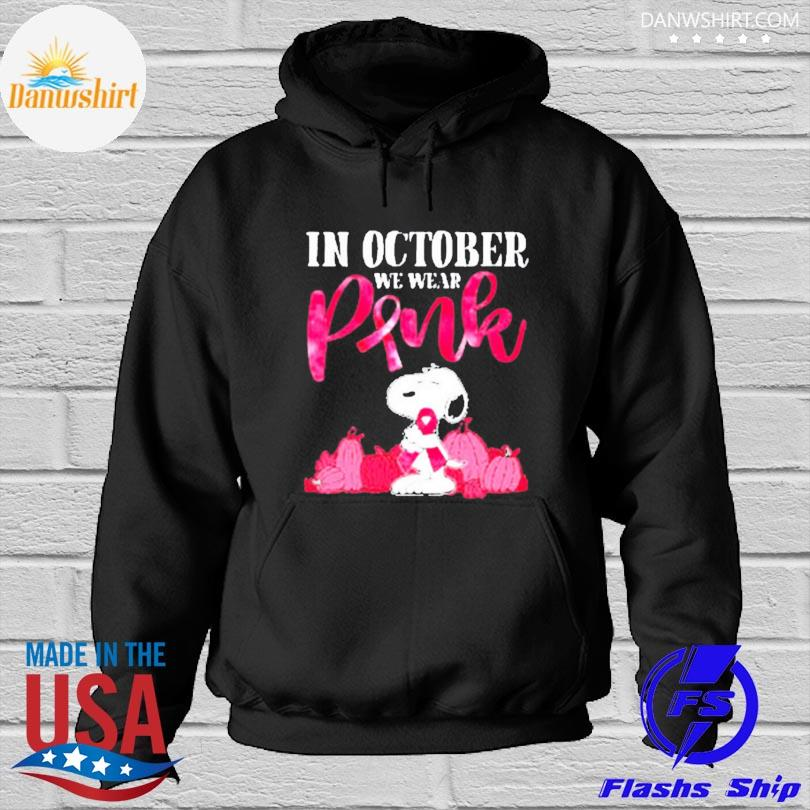 Official Snoopy breast cancer in october we wear pink s Hoodied