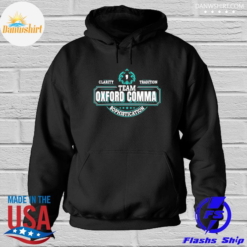 Official Team oxford comma grammar books design s Hoodied