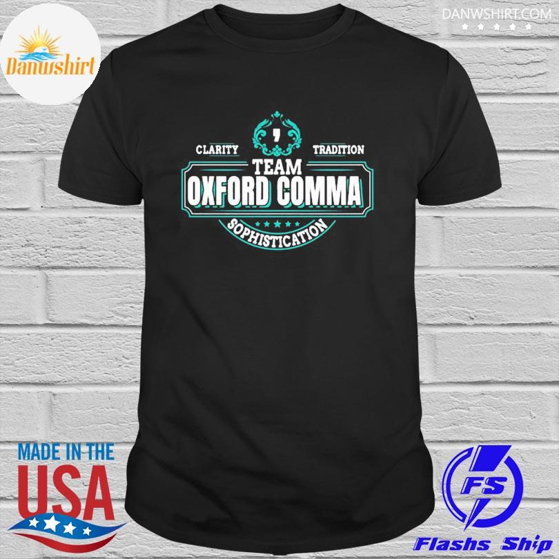 Official Team oxford comma grammar books design shirt
