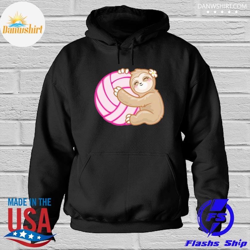 Official Volleyball sloth hug pink ball s Hoodied