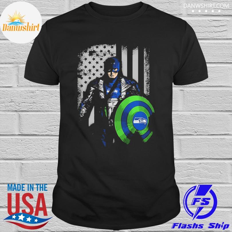 Seattle Seahawks Captain Flag Dc Marvel Jersey Superhero Avenger shirt