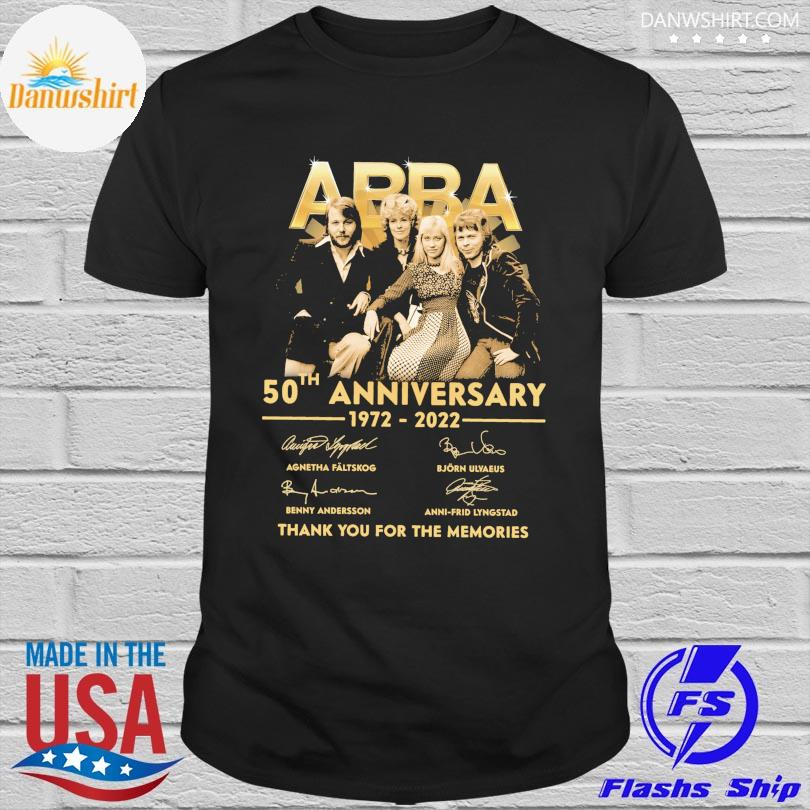 Official Abba 50th anniversary 1972 2022 thank you for the memories signatures shirt